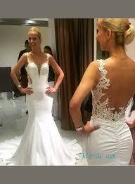 wedding dress sheer straps spaghetti straps wedding dresses low back mermaid
