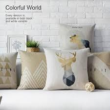 deer home decor geometric bear and deer home decor pillow linen cotton cushion