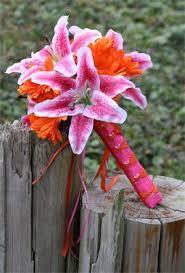 stargazer bouquet 17 silk pink stargazer orange wedding bouquet set