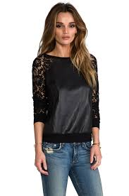 Leather And Lace Clothing Bailey 44 Stolen Bride Lace And Leather Sweatshirt In Black In