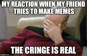 Real Friend Meme - my reaction when my friend tries to make memes the cringe is real meme