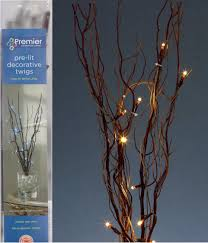 premier decorations pre lit decorative twigs with 16 white leds