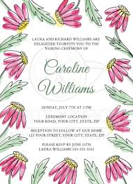 sweet name giving naming ceremony invitation with pink watercolor