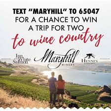 maryhill winery offers trip to wine country in text message