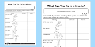 what can you do in a minute activity sheet measurement
