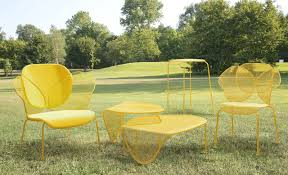 Patio Furniture Metal Mesh - organic shaped sunny colored outdoor furniture by areadeclic