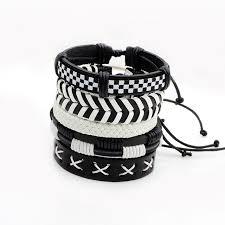 white leather bracelet images Buy vintage black white wristband handmade jpg