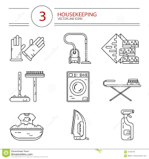 icons set of housekeeping work tools stock vector image 70186746