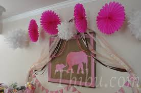 pink and chocolate elephant themed baby shower decor