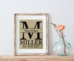wedding gift name sign personalized wedding gift burlap personalized wedding gift