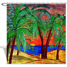 mountain sunset palms palm tree coastal shower curtain u2013 art gifts