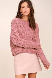 cable sweater j o a pink cable knit sweater cable knit chenille sweater