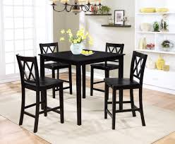 Wood Dining Chairs Essential Home Dahlia 5 Piece Square Table Dining Set Black
