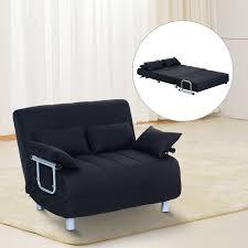 Cheap Double Sofa Bed Homcom Double Sofa Bed W Pillows Black Aosom Co Uk
