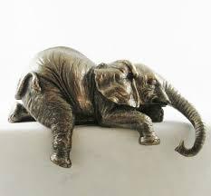 baby african elephant shelf sitter figurine bronzed statue sitting