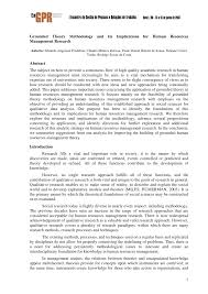 grounded theory methodology and its implications for human