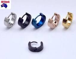 mens ear studs 1 pair surgical steel cool mens ear studs hoop earrings black blue