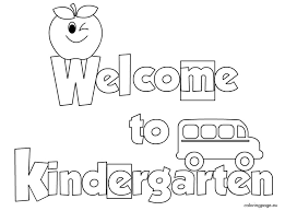 welcome to kindergarten coloring page funycoloring