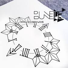 compass geometric clock tattoo abstract illustration idea