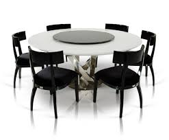 White Lacquer Dining Table by A U0026x Spiral Modern Round White Dining Table With Lazy Susan