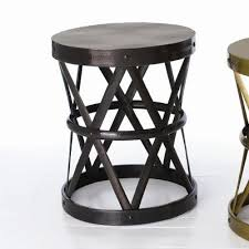 Metal Drum Accent Table Home Costello Accent Table In Distressed Dark Vintage Brass Wayfair