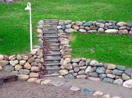 natural stone retaining wall on a slope