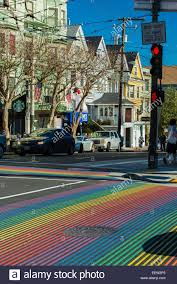 Usa Rainbow Flag Pedestrian Crossing With Rainbow Flag Colors Strips In Castro