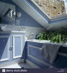 Small Blue Bathrooms Blue White Panelled Bath And Vanity Unit In Small Blue Attic