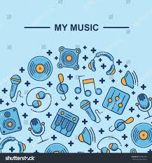 music themed pattern background design place stock vector