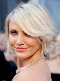haircolor for forties short straight bob cut with bangs cameron diaz s short