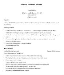 resume medical office assistant resume templates certified free