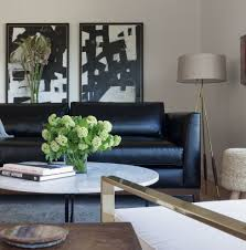 Living Room Black Leather Sofa Black Leather Sofa Living Room Contemporary With Artwork Black