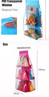 6 pocket hanging handbag purse bag tidy organizer storage wardrobe