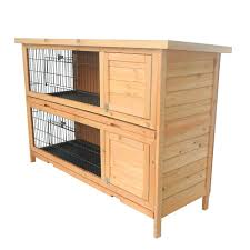 Rabbit Hutch Plans Pawhut 2 Story Stacked Wooden Outdoor Bunny Rabbit Hutch Guinea