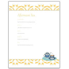 menu templates hosting a tea an afternoon tea menu template for ms