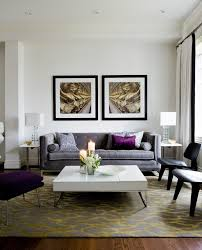 Purple Living Room by Yellow Area Rug Living Room Transitional With Black Framed Black