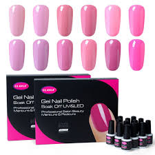 gel nail polish set 12pcs pink colour varnish soak off uv led gel