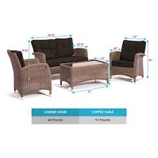 Kettler Bistro Table Kettler Lakena 4 Piece Wicker Patio Lounge Furniture Set Canvas