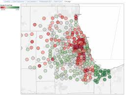 chicago zip code map home price declines on a map by zip code yochicago