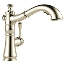 polished nickel kitchen faucets delta cassidy single handle pull out sprayer kitchen faucet in