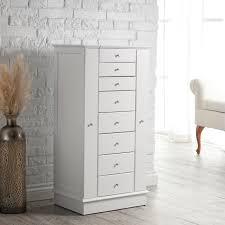 White Armoire Furniture White Wooden Standing Jewelry Armoire With Single