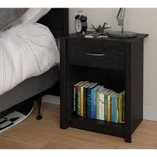 Black Wood Nightstand Mainstays Transitional Nightstand Black Ash Walmart