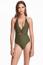 halter neck halterneck swimsuit khaki green h m