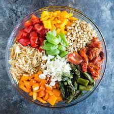 orzo pasta salad with roasted vegetables culinary hill