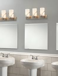 gray wall paint mirror without frame wall lamps subway backsplash