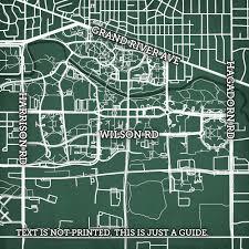 Uark Campus Map Michigan State University Campus Map Art City Prints
