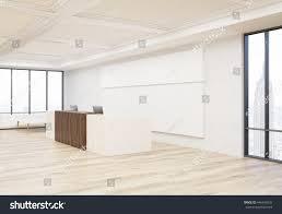 Concrete Reception Desk Side View Interior Office Reception Desk Stock Illustration