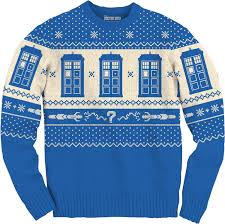 tardis and sonic screwdriver doctor who faux christmas sweater