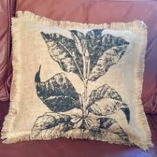 home decor holding company burlap pillow fall rustic pillow upcycled brazil coffee sack fall