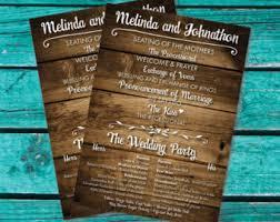 rustic wedding program fans wedding program fan etsy
